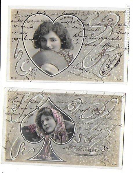 P-9701. PAREJA DE POSTALES FOTOGRAFICAS CON ILUSTRACION. 1904. (Postales - Postales Temáticas - Galantes y Mujeres)