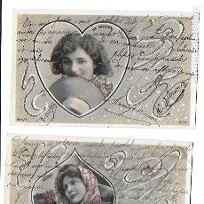 Postales: P-9701. PAREJA DE POSTALES FOTOGRAFICAS CON ILUSTRACION. 1904.. Lote 191450597