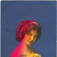 Postales: POSTAL MUJER JOVEN CON ESCRITO AL DORSO FECHADO EN 1913 Y SELLO 10 CÉNTIMOS ALFONSO XIII. Lote 191617446