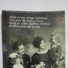 Postales: POSTAL, MATRIMONIO CON SUS HIJOS, AÑOS 60, MEDIDAS 13,5 X 8,5 CM. Lote 191931485