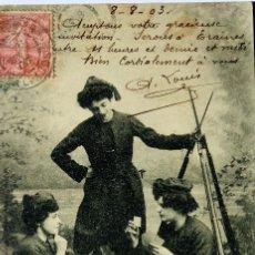 Postales: P-10029. MILICIANAS FRANCESAS EN UN DESCANSO JUGANDO A CARTAS. CALVADOS (NORMANDIA). AÑO 1903. Lote 193704755
