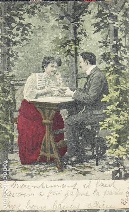 Postales: P-10031. UNA PARTIDA DE CARTAS COMO EXCUSA. 6 POSTALES. COLOREADAS. CIRCULADAS. AÑO 1906 - Foto 4 - 193764312