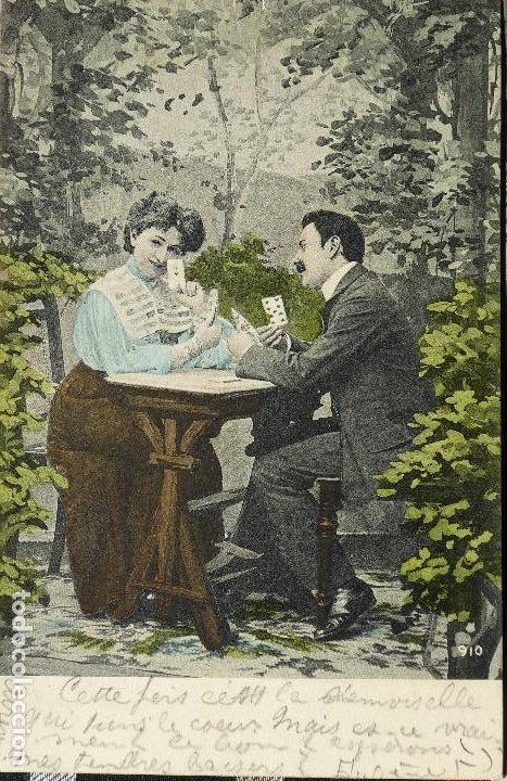 Postales: P-10031. UNA PARTIDA DE CARTAS COMO EXCUSA. 6 POSTALES. COLOREADAS. CIRCULADAS. AÑO 1906 - Foto 5 - 193764312