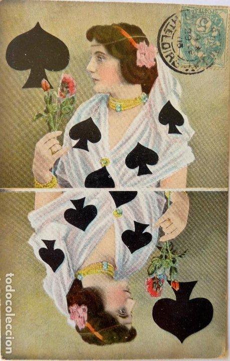 Postales: P-10050. POSTALES CON DAMAS REPRESENTANDO LOS PALOS DE NAIPES. FRANCIA AÑO 1905. 4 POSTALES. - Foto 3 - 194549138