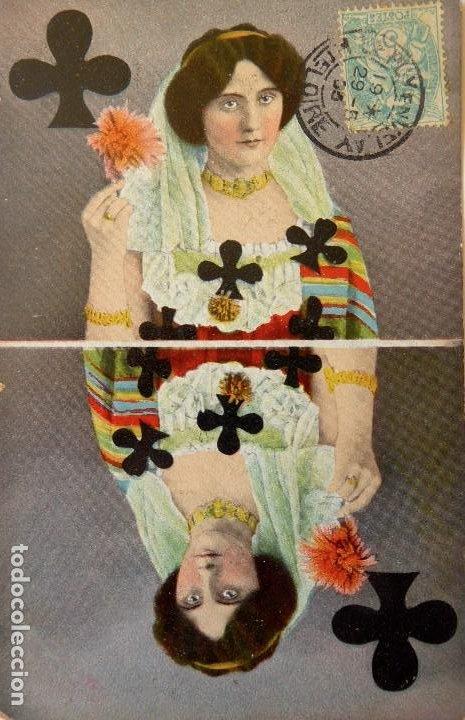 Postales: P-10050. POSTALES CON DAMAS REPRESENTANDO LOS PALOS DE NAIPES. FRANCIA AÑO 1905. 4 POSTALES. - Foto 4 - 194549138