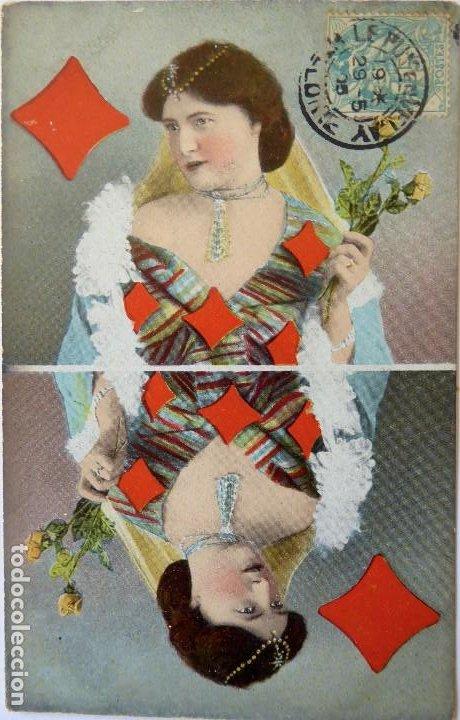 Postales: P-10050. POSTALES CON DAMAS REPRESENTANDO LOS PALOS DE NAIPES. FRANCIA AÑO 1905. 4 POSTALES. - Foto 6 - 194549138