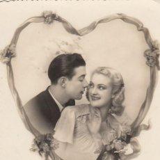 Postales: POSTAL ROMANTICA DE FELICITACIÓN. SIN MARCAS DEL EDITOR. ESCRITA.. Lote 194623763