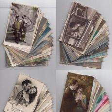 Postales: PAREJAS DE ENAMORADOS. GRAN LOTE DE 80 POSTALES. Lote 194678165