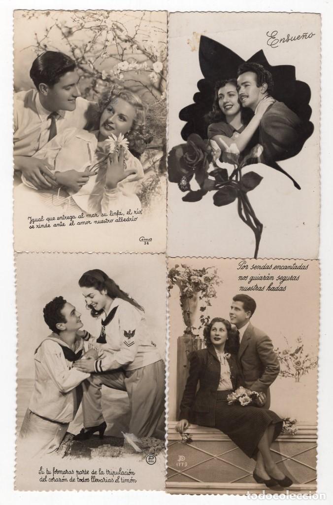 Postales: Parejas de enamorados. Gran lote de 80 postales - Foto 4 - 194678165