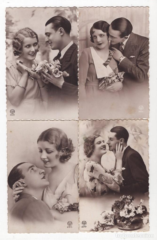Postales: Parejas de enamorados. Gran lote de 80 postales - Foto 5 - 194678165