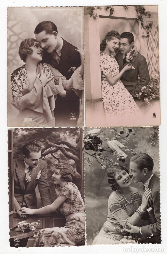 Postales: Parejas de enamorados. Gran lote de 80 postales - Foto 6 - 194678165