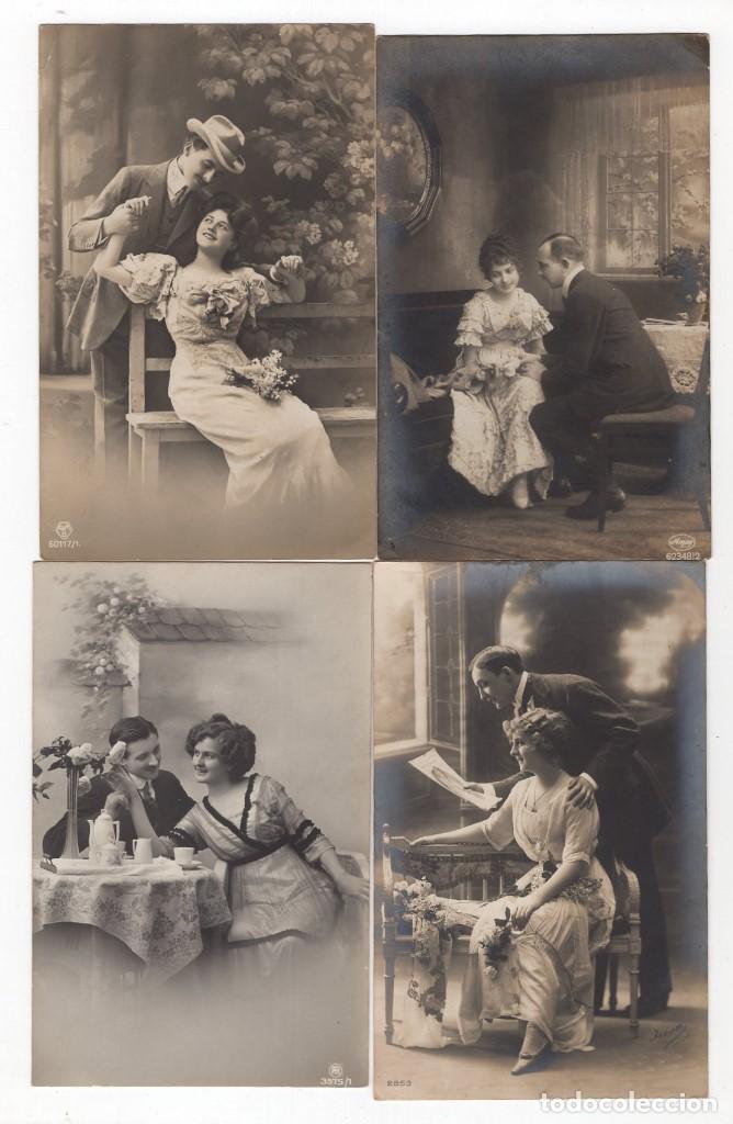 Postales: Parejas de enamorados. Gran lote de 80 postales - Foto 8 - 194678165