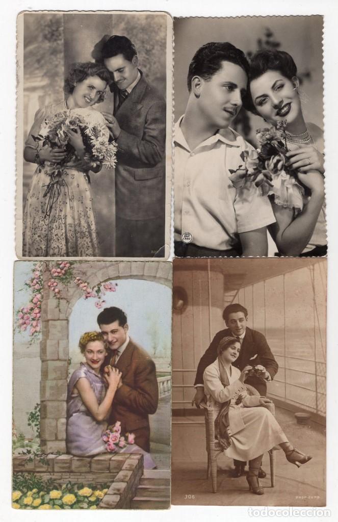Postales: Parejas de enamorados. Gran lote de 80 postales - Foto 10 - 194678165
