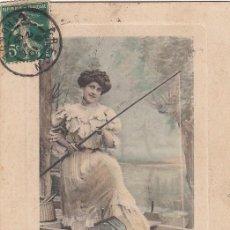 Postales: TARJETA POSTAL. MUJER PECANDO. FRANCIA. CIRCULADA.. Lote 194720021