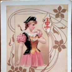 Postales: JOVEN ATAVIADA. E. ANTALBE. NUEVA. COLOR. Lote 195064501