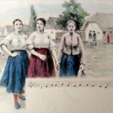 Postales: GRUPO DE MUJERES Y NOTAS MUSICALES. NUEVA. COLOR. Lote 195064556
