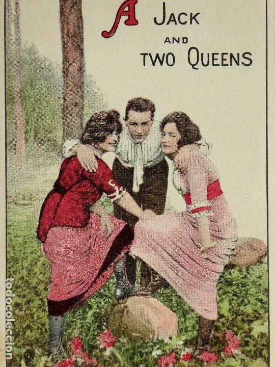 Postales: P-10070. A JACK AND TWO QUEENS. POSTAL AMERICANA AÑOS 20. SIN CIRCULAR. - Foto 2 - 195215435