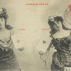 Postales: P-10075. EL LENGUAJE DE LOS ASES (LE LANGAGE DES AS). AÑO 1905. CIRCULADA.. Lote 195221066