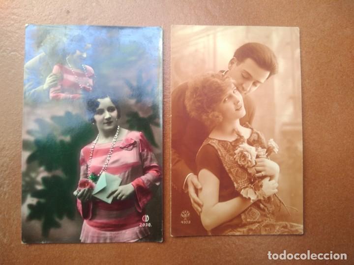 LOTE DE 2 POSTALES ENAMORADOS (Postales - Postales Temáticas - Galantes y Mujeres)