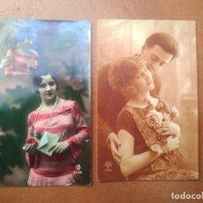 Postales: LOTE DE 2 POSTALES ENAMORADOS. Lote 195227943