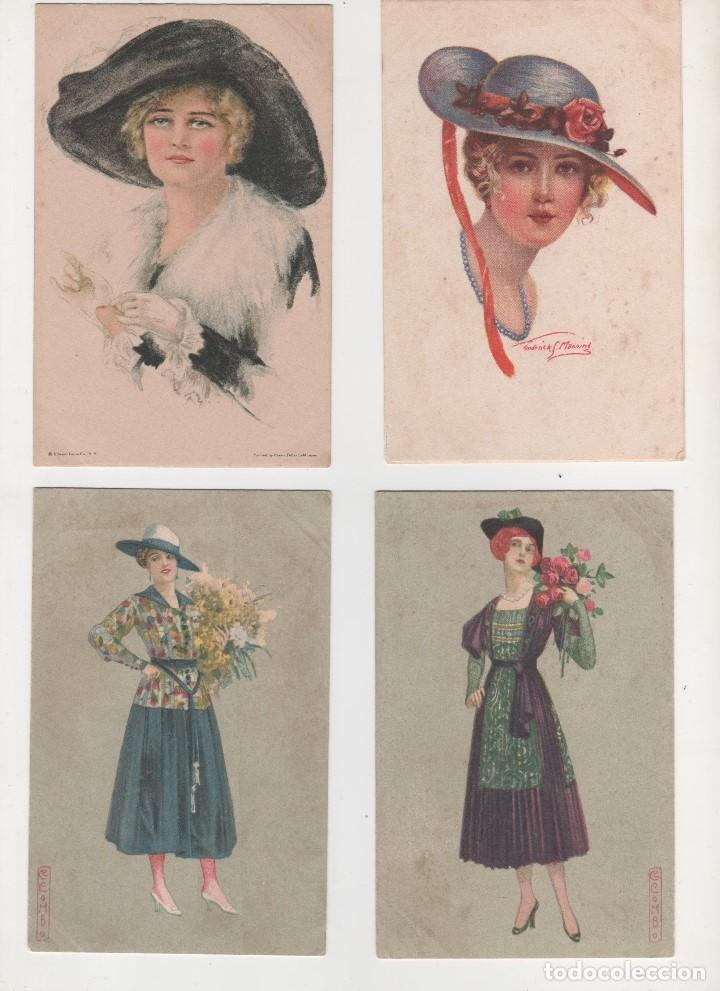 4 POSTALES ORIGINALES ANTIGUAS 1900 1919 (Postales - Postales Temáticas - Galantes y Mujeres)