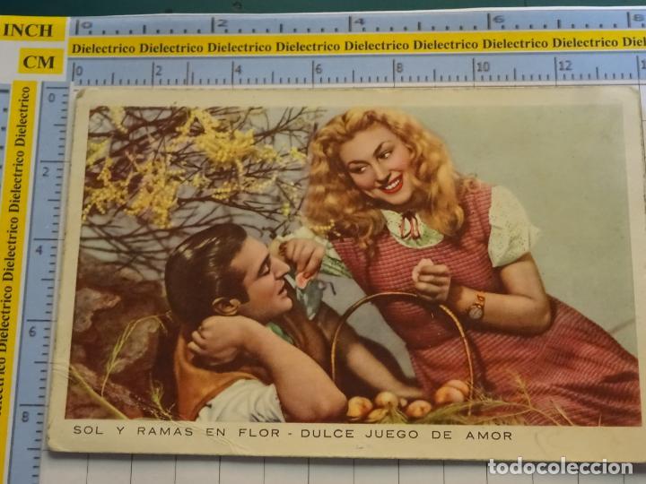 POSTAL DE MUJERES Y GALANTES. AÑO 1952. ENAMORADOS SOL Y RAMAS EN FLOR . 146 (Postales - Postales Temáticas - Galantes y Mujeres)