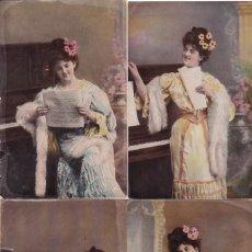 Postales: LOTE DE 6 POSTALES ANTIGUAS ROMANTICAS MUJER AL PIANO COLECCION COMPLETA DE MUSICA. Lote 195492343