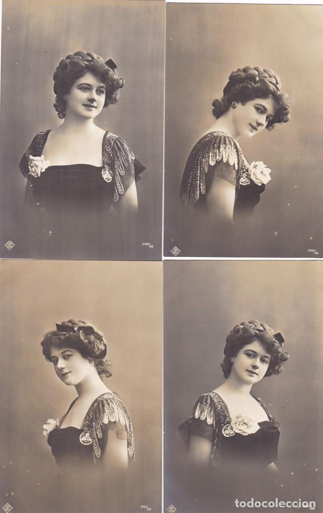 LOTE DE 6 POSTALES ANTIGUAS ROMANTICAS FOTOS DE BUSTO DE MUJER COLECCION COMPLETA (Postales - Postales Temáticas - Galantes y Mujeres)