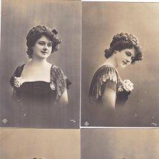 Postales: LOTE DE 6 POSTALES ANTIGUAS ROMANTICAS FOTOS DE BUSTO DE MUJER COLECCION COMPLETA . Lote 195492682