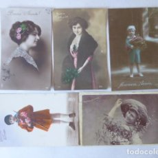 Postales: 5 POSTALES ANTIGUAS ROMANTICAS. Lote 196196568