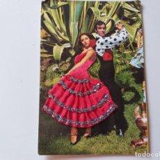 Postales: POSTAL FOTOGRAFICA PAREJA DE FLAMENCOS, TRAJE DE TELA Y CUERPO BORDADO. EDICIONES PALMA. CIRCULADA . Lote 196777463