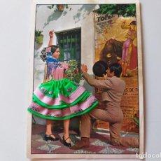 Postales: POSTAL FOTOGRAFICA PAREJA DE FLAMENCOS, TRAJE DE TELA Y CUERPO BORDADO. COMERCIAL BOHIGAS. Lote 196886292