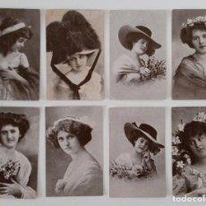 Postales: 18 PEQUEÑAS POSTALES DE DAMAS. PUBLICIDAD CHOCOLATES AMATLLER, BARCELONA. Lote 197079633