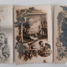 Postales: LOTE DE 3 POSTALES. PAREJAS DE ENAMORADOS. Lote 197184301