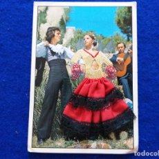 Postales: POSTAL FOTOGRAFICA PAREJA DE FLAMENCOS. TABLAO. TRAJE DE TELA Y ENCAJE. POSTALES ALCALÁ.. Lote 199179862