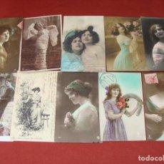 Postales: COLECCIÓN DE 10 POSTALES - ROMÁNTICAS MUJERES Y PAREJA - ALGUNAS COLOREADAS - SALIDA 0,01€. Lote 204198818