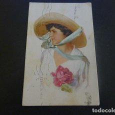 Postales: MUJER ELEGANTE CON ROSA POSTAL ILUSTRADA. Lote 205568503