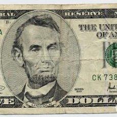 Postales: BILLETE DE 5 DOLARES - LINCOLN - SERIES 2001 - DORSO EN FOTO ADICIONAL. Lote 205739785