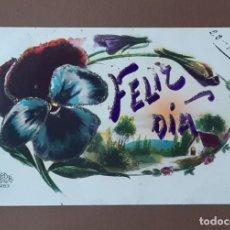 Postales: ANTIGUA TARJETA POSTAL FELIZ DÍA. DÉDÉ 1283. FRANCE. ESCRITA EN 1929. NO CIRCULADA.. Lote 206567793