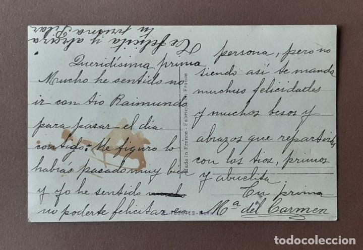 Postales: ANTIGUA TARJETA POSTAL FELIZ DÍA. DÉDÉ 1283. FRANCE. ESCRITA EN 1929. NO CIRCULADA. - Foto 2 - 206567793