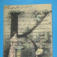 Postales: POSTAL ANTIGUA DE UNA MUJER Y UNA NIÑA. 1903. LETRA K.. Lote 206898110
