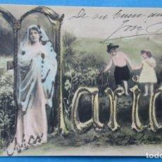 Postales: POSTAL CON EL NOMBRE DE MARÍA DE UNA MUJER Y DOS NIÑOS. 1904.. Lote 206899093