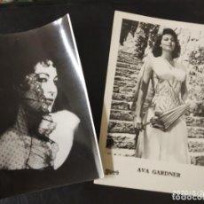 Postales: AVA GADNER, DOS ANTIGUAS POSTALES Y HOJA COLECCIONABLE.. Lote 150680966