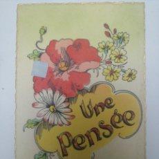 """Postales: POSTAL ENAMORADOS, """"UNE PENSEE"""". Lote 214134828"""