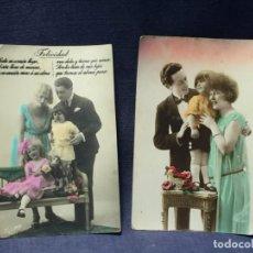 Postales: DOS POSTALES PAREJA ENAMORADOS FAMILIA FELICIDAD ROMANTICAS ESPAÑOLAS COLOREADAS PPIO S XX. Lote 215154170