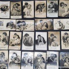 Postales: 43 POSTALES ROMANTICAS DE GALANES Y MUJERES (PAREJAS DE AMOR) HAY DOS SI DIVIDIR. DECADA 40. Lote 217425836