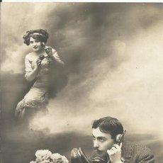 Postales: POSTAL BLANCO NEGRO. MUJER HOMBRE TELÉFONO. REX PARÍS. 475. 1911. 14X9 CM. MODERNISTA. ART NOUVEAU.. Lote 217917227