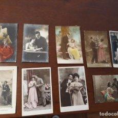 Postales: LOTE DE 9 POSTALES ANTIGUAS DE TEMÁTICA ROMÁNTICA. ENTRE 1911 Y 1917. CIRCULADAS. Lote 218571958