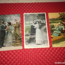 Postales: LOTE DE 3 POSTALES ROMÁNTICAS CON MÁS DE 100 AÑOS DE ANTIGUEDAD - CIRCULADAS. Lote 221602726