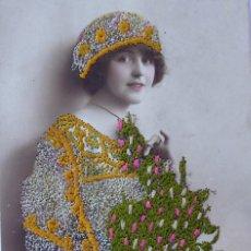 Postales: P-11617. POSTAL ROMÁNTICA BORDADA Y COLOREADA. AÑO 1906 .. Lote 222095885